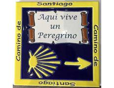 Azulejo cerámica Aquí vive un Peregrino Flecha y Estrella 20x20