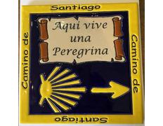 Azulejo cerámica Aquí vive una Peregrina Flecha y Estrella 20x20