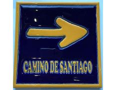 Azulejo Cerámica Flecha con filo Camino de Santiago 15x15 cm.