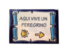 Imán cerámica Aquí vive un Peregrino con Concha Flecha 5x7,5 cm