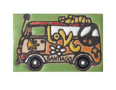 Imán Cerámica Bus Camino de Santiago Verde 5x7,5 cm