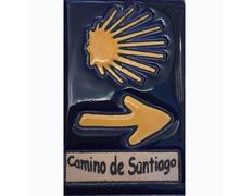 Imán Cerámica Concha y Flecha Camino de Santiago 5x7,5 cm