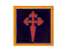Imán cerámica cruz Santiago 5x5 cm