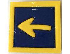 Imán cerámica Flecha con filo amarillo 5X5 cm