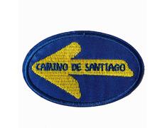Parche bordado Flecha Camino de Santiago ovalado