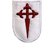 Parche bordado tela Cruz de Santiago fondo blanco