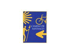 Pegatina 4 Símbolos Amarillos Camino de Santiago 6x8