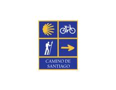 Pegatina 4 Símbolos Camino de Santiago 6x7,5