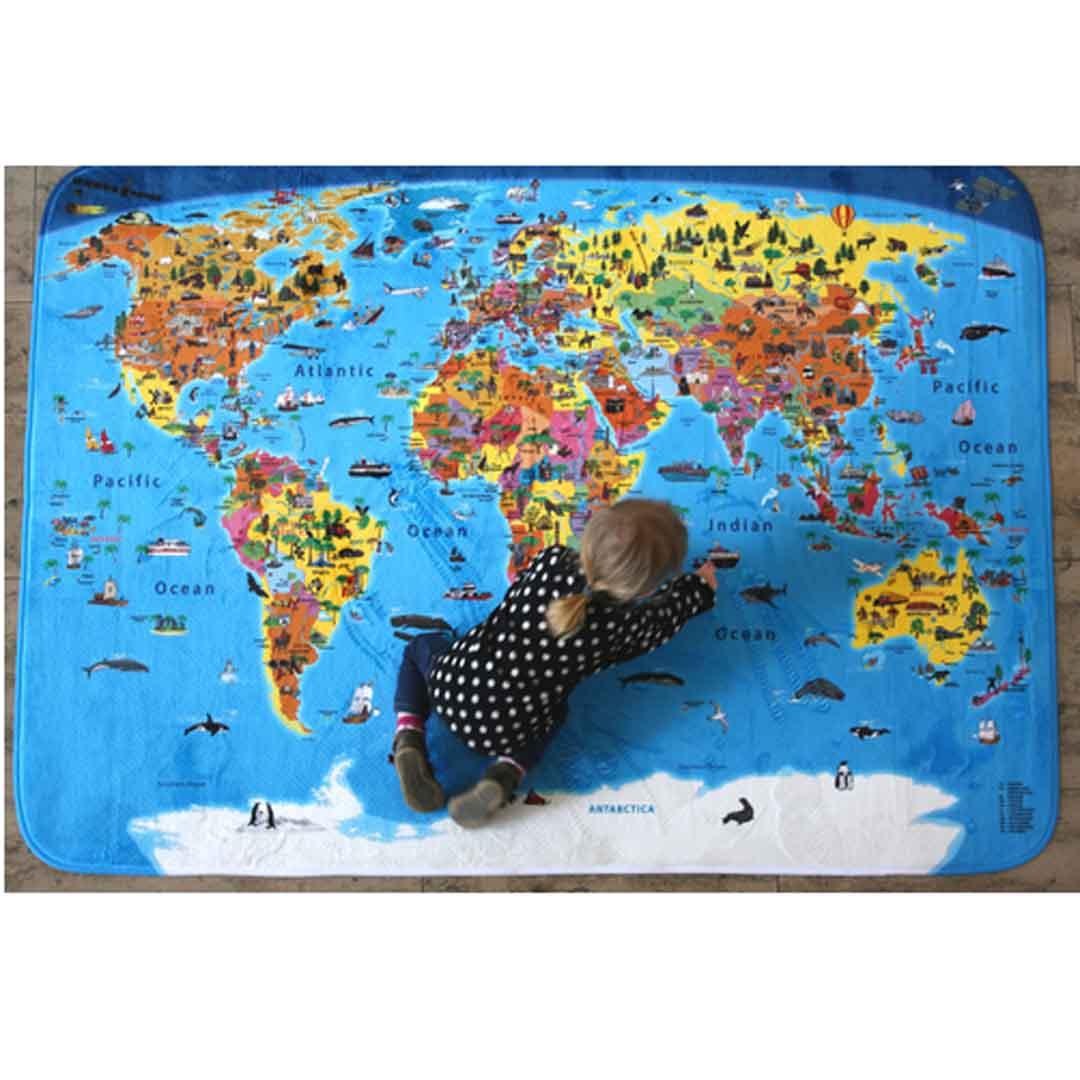 Alfombra del mundo ilustrada para ni os 180x130 cm ingl s for Mundo alfombra