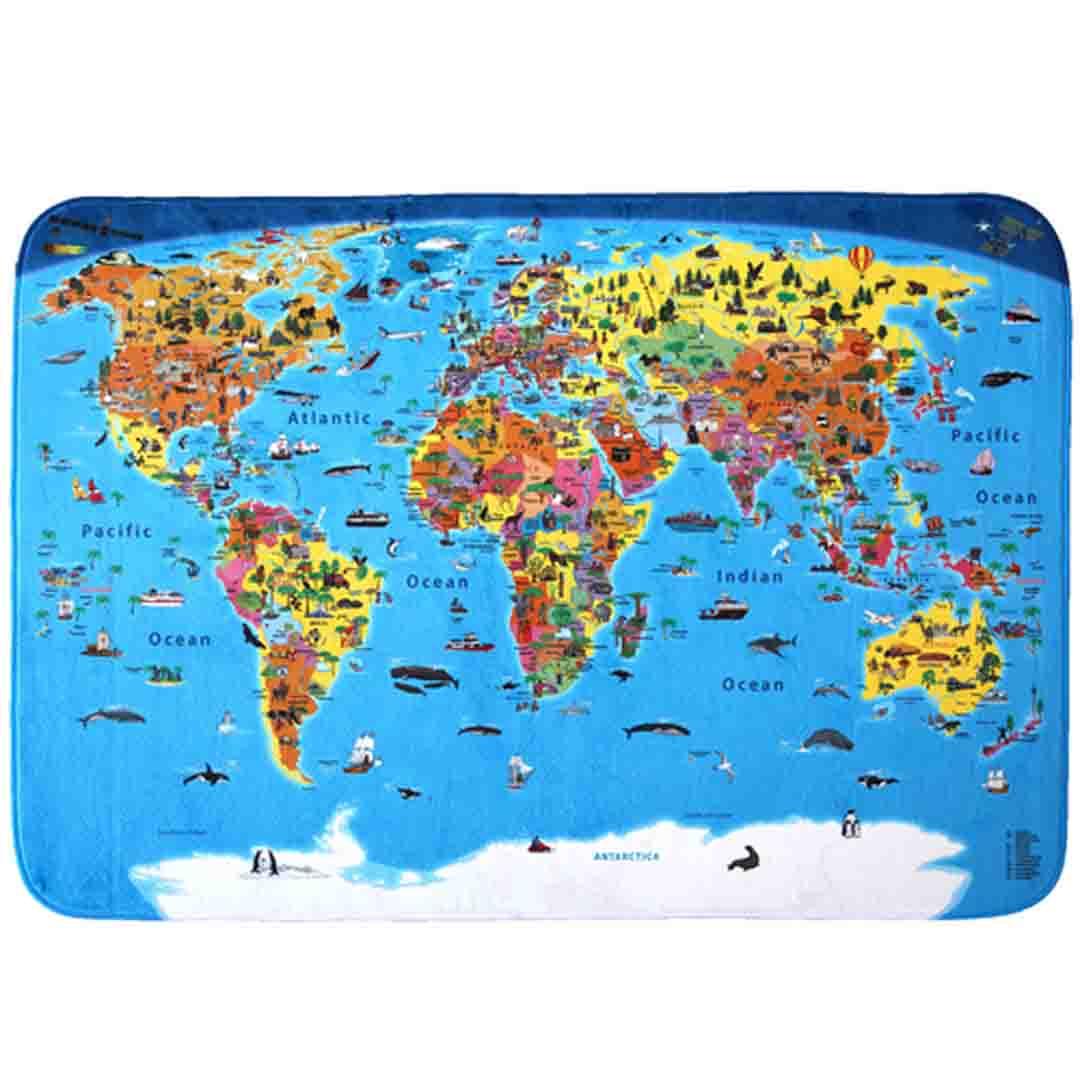 Alfombra del mundo ilustrada para ni os 180x130 cm ingl s - Mundo alfombra ...